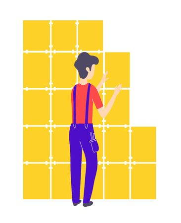The tiler glues the tiles to the wall. Repair and construction services. Vector isolated illustration Çizim