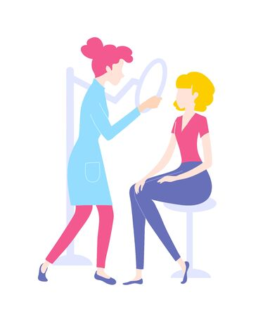 Medical procedure dermatoscopy. A dermatologist or cosmetologist examines a patients skin.