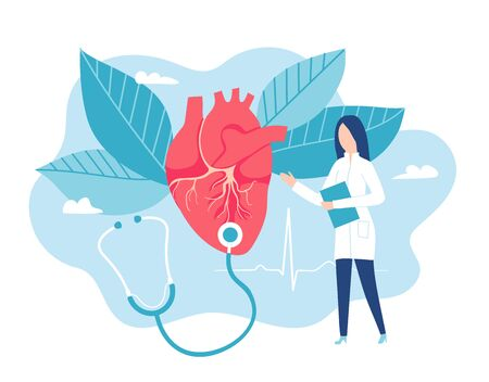 Cardiologist listens to a heartbeat. Healthy heart. Cardiology vector illustration