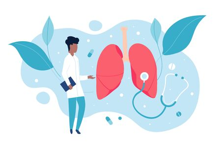Pulmonologist examines the lungs. The concept of pulmonology and a healthy respiratory system. Medicine vector illustration Çizim