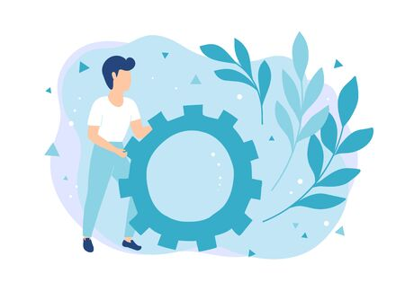 Services for setting up and repair technical equipment. Concept man pushing gear Illustration