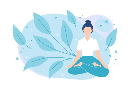 Yoga and meditation. Girl sitting in lotus position.