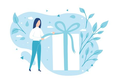 The girl opens a gift. Pulling a ribbon to untie a bow on a gift box Illustration