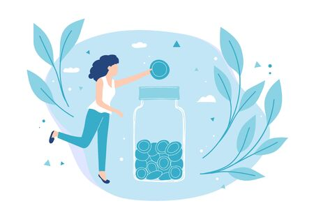 Girl puts a coin in a moneybox. Savings and investing money Vector Illustration