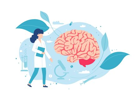 Doctor neurologist or neurosurgeon examines the brain.