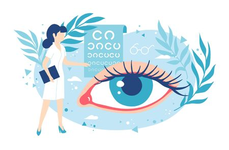 Ophthalmologist or oculist. Healthy eyes and eyesight. Laser vision correction. Stock Illustratie