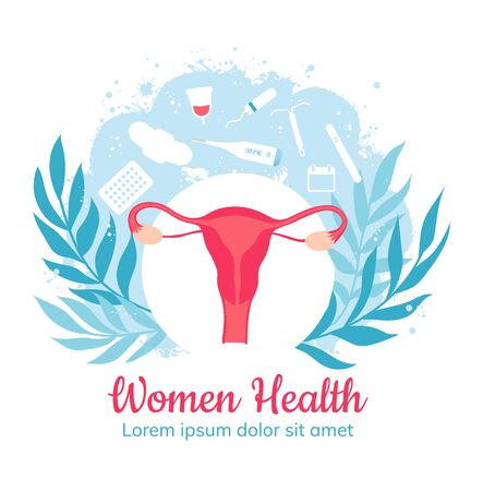 Gynecology and women health. Gynecological clinic. Vector 일러스트