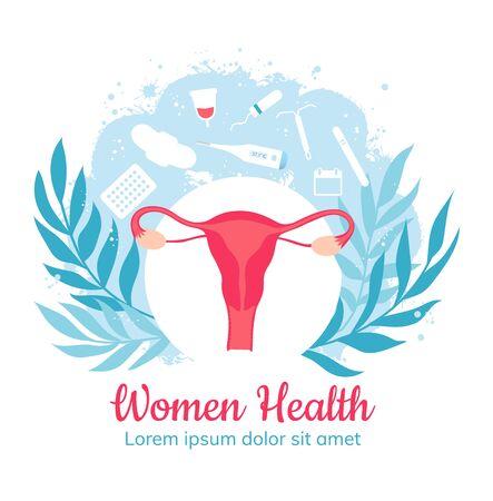 Gynecology and women health. Gynecological clinic. Vector Ilustracja