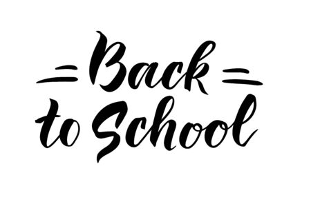 Back to school. Hand draw lettering. The phrase is written by hand. Vector illustrtaion Illustration