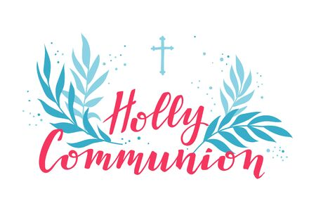 First holy communion greeting card design template. Illustration