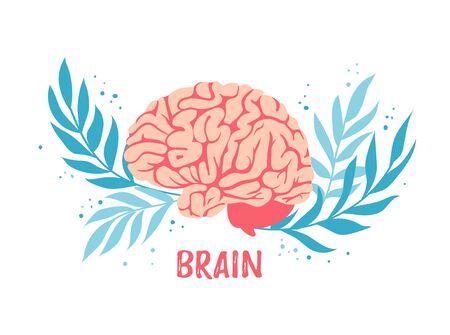 Brain. Symbol of mind and intellect. Human organ and anatomy.