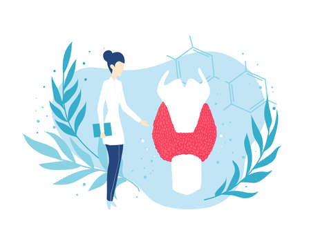 Thyroid gland. Doctor endocrinologist. Health and medicine. Isolated illustration Ilustracja