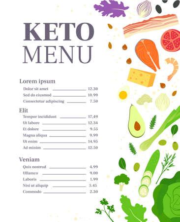 Restaurant keto menu template. Ketogenic diet. Healthy eating Ilustracja