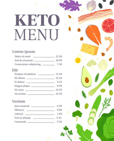 Restaurant keto menu template. Ketogenic diet. Healthy eating Illustration