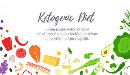 The keto or ketogenic diet. A diet low in carbohydrates for weight loss. Baner template design Illustration