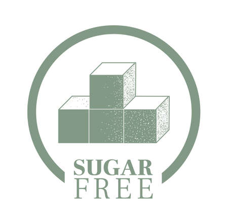 Sugar free food packaging stamp or sticker. Product label