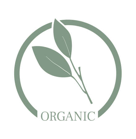 Organic food packaging stamp or sticker. Product label 스톡 콘텐츠