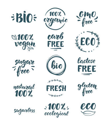 Eco, bio and organic products. Sagar, GMO, gluten and lactose free. Handwritten lettering. A set of stamps or stickers for packaging.
