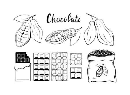 Chocolate and cocoa beans icons set