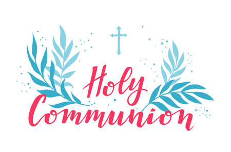 First holy communion greeting card. Illustration