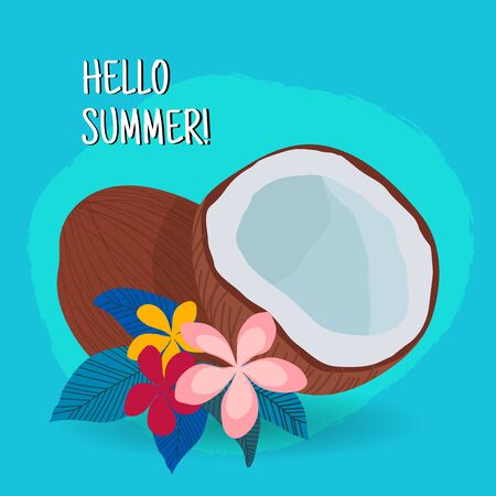 Hand drawn coconut with flowers on blue background. Hello summer. - vector illustration