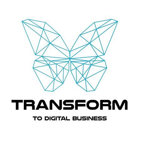 Digital transformation. Logo design. Polygonal color butterfly. vector