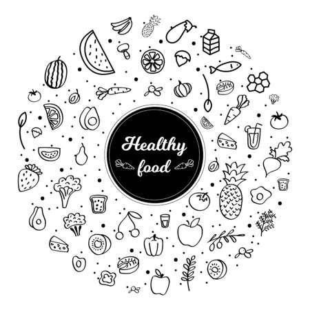 Heathy food. Set of hand drawn isolated icon. Black and white. vector Иллюстрация