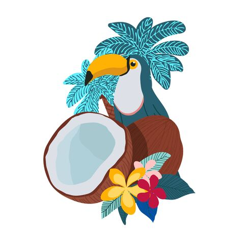 Tropical illustration of toucan, coconuts, plumeria flowers and palms. Isolated on white. - Vector illustration