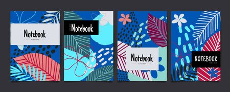 Set of abstract floral covers with tropical flowers and leaves. Creative universal art background. Notebook. Vector illustration Иллюстрация