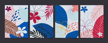 Set of abstract floral pattern with tropical flowers and leaves. Creative universal art background. Wedding, anniversary, party invitations, covers, decor elements. Vector illustration