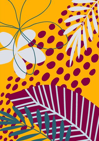 Abstract floral pattern with tropical flowers and leaves. Creative universal art background. Cute and modern. Vector illustration