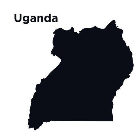 Map of Uganda, Africa, isolated on white - vector.