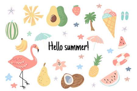 Hello, summer! Hand drawn colorful summer icon set. Vector illustration