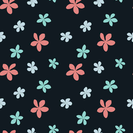 Seamless floral pattern with of pink and blue plumeria flowers on black background. Vector illustration. Perfect for fabric, wallpaper, summer products