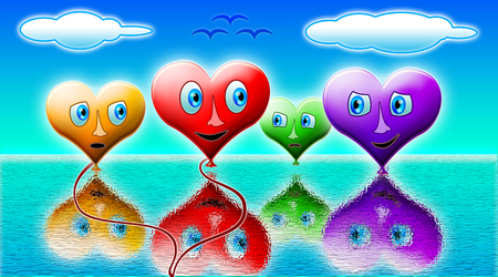 Loving hearts balls of colorful and emotional over water