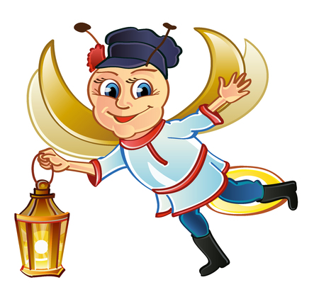 Good-natured Russian firefly in flight. Open arms. Russian folklore