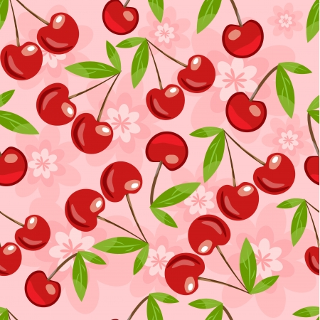 Seamless pattern with cherry and flowers in vector format Vector