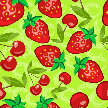 Seamless strawberry and cherry pattern vector in vector format Vector