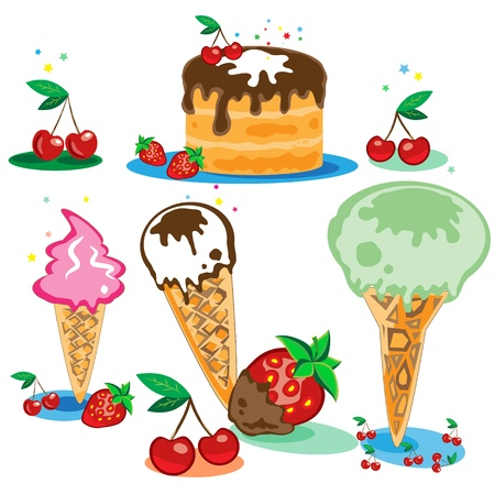 Set of tasty ice cream and cake isolated on white background Stock Vector - 13703990