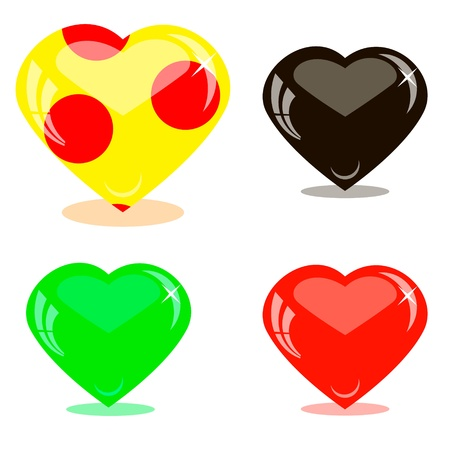 Icons glass hearts Vector