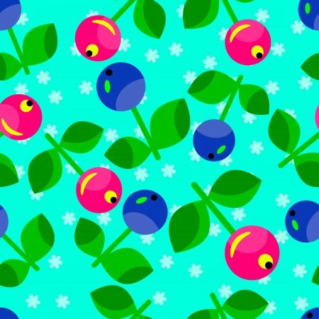 Seamless  pattern of red and blue berries Vector