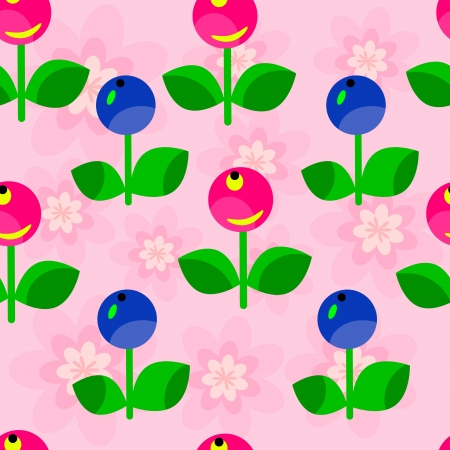 Seamless floral pattern of red and blue berries Vector