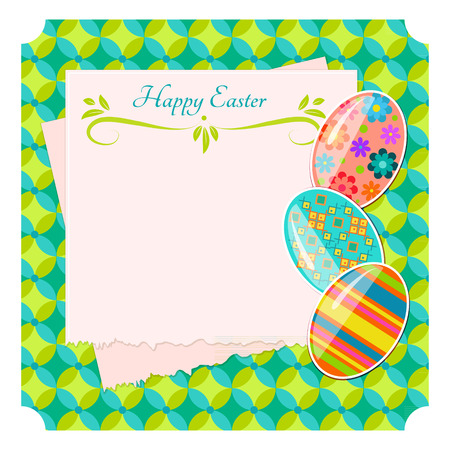 oncept: Happy Easter background design, vector illustration. Design template for greeting card, poster, flyer, blog. There is a place for the text.