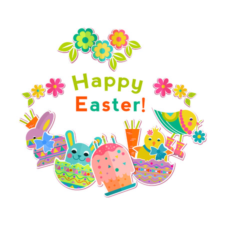 oncept: Happy Easter vector illustration on isolated background. Bunny, eggs. Design template for greeting card, poster, brochure, blog.