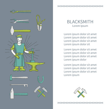 anvil: Blacksmith and design element with place for your text. Banner or flyer template with a hammer, anvil, blacksmith. Blacksmith vector line style. Illustration