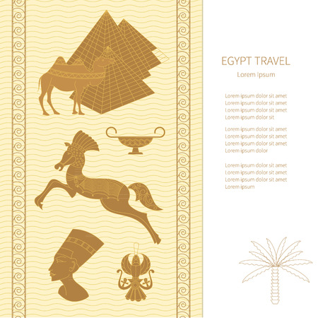 egyptology: Symbols of Egypt and landmarks - Egypt icons - pyramid, camel, Nefertiti, the scarab. Template design greeting cards and other printed products. Illustration
