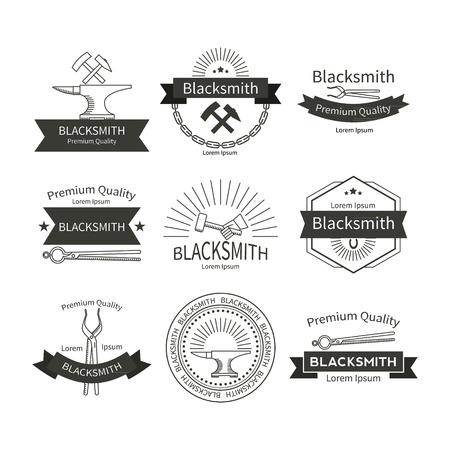 Set von Vektor-Etiketten für im angesagten linearen Stil Schmiedekunst.