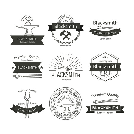 foundry: Set of vector labels for blacksmithing  in the trendy linear style. Illustration