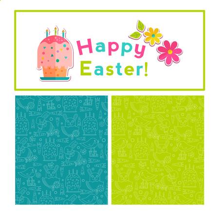 oncept: Happy Easter background design, vector illustration. Design template for greeting card, poster, flyer, blog. Illustration