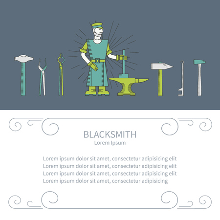 blacksmith: Blacksmith and design element with place for your text. Banner or flyer template with a hammer, anvil, blacksmith. Blacksmith vector line style. Illustration